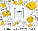 cheese design template. hand... | Shutterstock .eps vector #1707915673