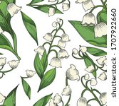 hand drawn lily of the valley... | Shutterstock .eps vector #1707922660