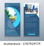 dl flyer design. blue business... | Shutterstock .eps vector #1707929779