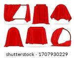 red silk cover. 3d opened... | Shutterstock .eps vector #1707930229
