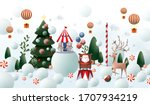 snowy christmas greetings... | Shutterstock .eps vector #1707934219