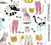 seamless childish pattern with... | Shutterstock .eps vector #1707949663