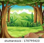 illustration of a green forest... | Shutterstock . vector #170795423