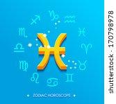 pisces horoscope sign on a blue ... | Shutterstock .eps vector #170798978