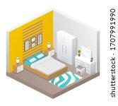 vector realistic bedroom cozy...   Shutterstock .eps vector #1707991990