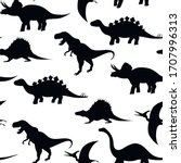 dinosaurs silhouettes seamless... | Shutterstock .eps vector #1707996313