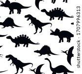 dinosaurs silhouettes seamless... | Shutterstock .eps vector #1707996313