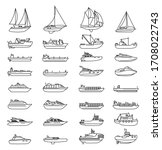 ships and boats set. barge and... | Shutterstock .eps vector #1708022743