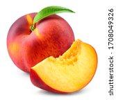 Peach Isolate. Peach Slice And...