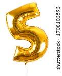 golden number five balloon...   Shutterstock . vector #1708103593