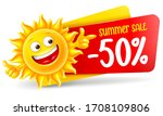 cheerful sun character announce ... | Shutterstock .eps vector #1708109806