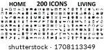 set 200 icons of home living ... | Shutterstock .eps vector #1708113349