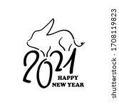2021 year of ox black vector... | Shutterstock .eps vector #1708119823