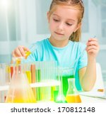 cute little girl with flasks... | Shutterstock . vector #170812148