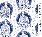 buddha. seamless pattern.... | Shutterstock .eps vector #1708122319