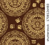 aztec sun stone seamless... | Shutterstock .eps vector #1708126483