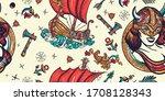 vikings seamless pattern. old... | Shutterstock .eps vector #1708128343