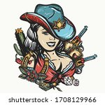 cowboy girl pin up style.... | Shutterstock .eps vector #1708129966