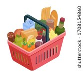 red shopping basket with...   Shutterstock .eps vector #1708154860