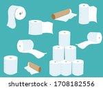 toilet paper during coronavirus.... | Shutterstock .eps vector #1708182556