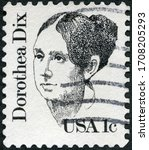 Small photo of MOSCOW, RUSSIA - APRIL 06, 2020: A stamp printed in USA shows Portrait of Dorothea Lynde Dix (1802-1887), Great Americans, 1980