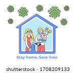happy family staying at home... | Shutterstock .eps vector #1708209133