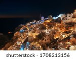 Santorini Skyline At Night With ...