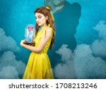 Small photo of Woman in the yellow dress with red rose in her hands on the background of the beast . Beauty and the beast cosplay art processing. Beauty and the beast cosplay