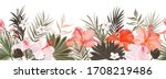 hibiscus botanic seamless...   Shutterstock .eps vector #1708219486