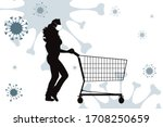 vector silhouette of woman push ... | Shutterstock .eps vector #1708250659
