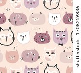 cute seamless pattern with... | Shutterstock .eps vector #1708259836