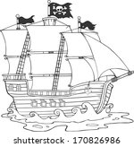 black and white pirate ship... | Shutterstock .eps vector #170826986