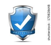 glossy shiny blue vector shield ... | Shutterstock .eps vector #170828648