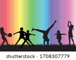 children black silhouettes in... | Shutterstock .eps vector #1708307779