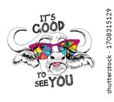 cute cow in a rainbow glasses.... | Shutterstock .eps vector #1708315129
