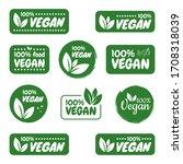 vegan icon set. vegan logos and ... | Shutterstock .eps vector #1708318039