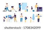 kids parents cleaning. mother... | Shutterstock . vector #1708342099