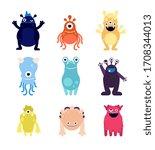 cute monsters. funny monster...   Shutterstock . vector #1708344013