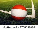 Austria Flag On Ball At Corner...