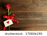 Stock photo red rose with message card image of valentines day 170836190