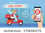 fastfood delivery by scooter on ... | Shutterstock .eps vector #1708384270