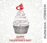valentine cupcake. vector...   Shutterstock .eps vector #170840144