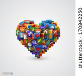 heart with many application... | Shutterstock .eps vector #170842250