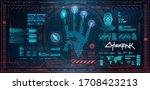 futuristic scanning hand  palm  ...