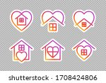 stay home social media icons on ... | Shutterstock .eps vector #1708424806