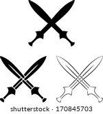 Set Of Crossed Swords. Vector...