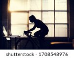 asian woman cyclist. she is...   Shutterstock . vector #1708548976