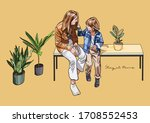 vector illustration of stay at...   Shutterstock .eps vector #1708552453