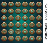 gui buttons wood icons set for...