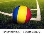 Romania Flag On Ball At Corner...